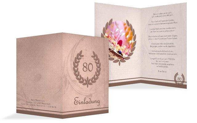 Einladungskarte Geburtstag Lorbeerkranz 80 Foto