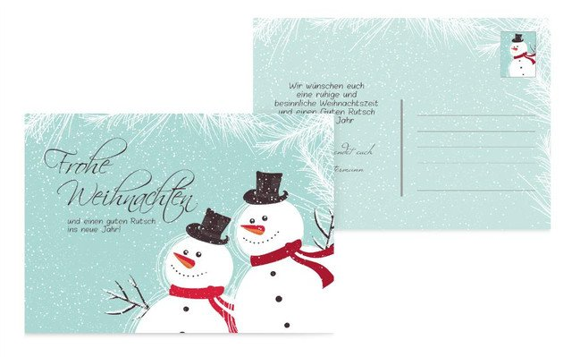 Weihnachtsgrußkarte Schneemänner