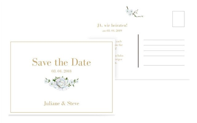 Save the Date Weiße Rose