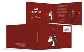 Hochzeitseinladung Comic Brautpaar - Rot (K19)