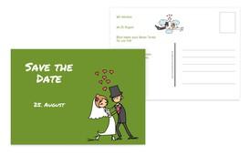 Save the Date Comic Brautpaar - Grün (K25)